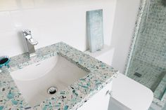 turquoise sea glass-inspired recycled glass countertop from Vetrazzo