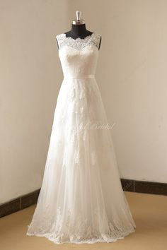 Ivory a line lace wedding dress