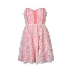 PIPED LACE BANDEAU DRESS - Ally Fashion via Polyvore