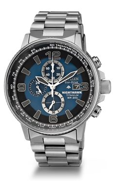 Titanium Night Hawk watch features chronograph, date, screw down crown, blue and black face, and is water resistant up to 200 M.