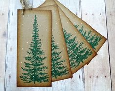 Pine Tree Gift Tags Rustic Christmas Woodland by PapergirlStudios Noel Christmas, Christmas Gift Tags, Rustic Christmas, Christmas Crafts, Christmas 2019, Christmas Ornaments, Wine Bottle Gift, Christmas Wine Bottles, Pine Tree