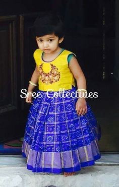 Exclusive ikkat kids lehengas available in stock ready to ship Whatsapp Measurements: Suitable for age group body blosue height Cute Baby Dresses, Dresses Kids Girl, Kids Outfits, Kids Dress Wear, Kids Gown, Kids Indian Wear, Indian Baby, Kids Blouse Designs, Frocks And Gowns