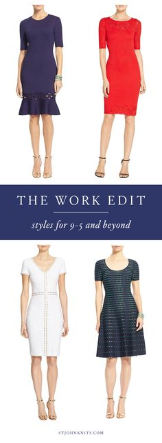 From 9-5 and beyond, find the perfect work dresses from St. John in a variety of fits, styles, and colors.
