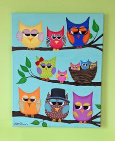16x20 Colorful Owl Family Painting by MeganJDesigns on Etsy, $50.00