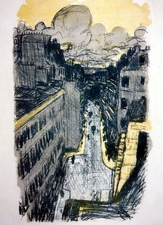 'Street Seen From Above' (ca. 1897) by French painter & printmaker Pierre Bonnard (1867-1947). Lithograph in 3 colors.