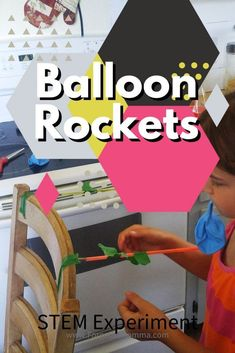 Balloon Rockets STEM Experiment - Forgetful Momma #balloonrockets #scienceforkids #experiment #funforkids Balloon Rocket, Science For Kids, Balloons, Science For Toddlers, Balloon