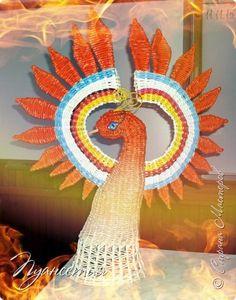 Поделка изделие Плетение Жар - птица Трубочки бумажные фото 5