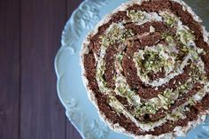 Twisted chocolate cake with nuts