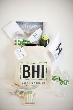 Gifts for out-of-town guests | habitatevents.com | Missoula, MT Wedding Welcome Baskets, Wedding Welcome Gifts, Destination Wedding Welcome Bag, Wedding Gifts For Guests, Wedding Bag, Wedding Favors, Wedding Ideas, Hospital Gifts, Guest Gifts