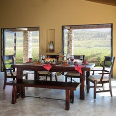 the 12 step rustic mahogany finish of the vineyard dining collection makes it an excellent center piece shop for rustic dining room furniture and more now