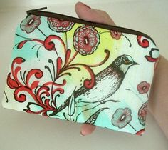 Sky Bird Zipper Pouch Little Coin Purse Padded Eco Friendly by JPATPURSES, $8.00