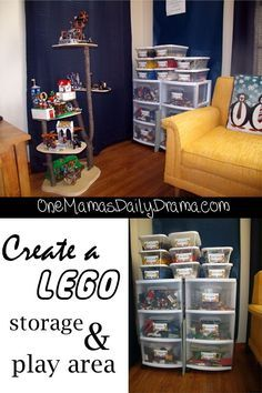 Create a Lego storage & play area + free printable labels | One Mama's Daily Drama --- This is brilliant! There is a set of labels with categories and a blank set so you can write whatever you want.