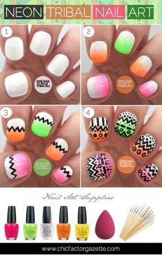 Neon Tribal Nail Art and other Cool and Easy Nail Art Ideas and Tutorials | #DIYready www.diyready.com