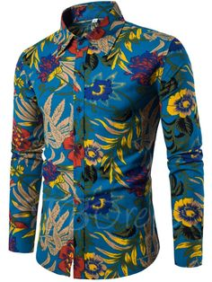 Lapel Ethnic Linen Ethnic Printed Slim Men's Long Sleeve Shirt - m.tbdress.com