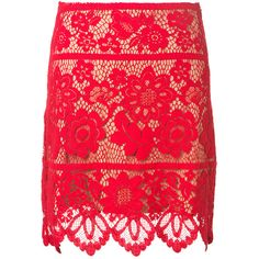 For Love & Lemons Gianna Red Guipure Lace Skirt (305 AUD) ❤ liked on Polyvore featuring skirts, red floral skirt, lace skirt, red skirt, floral knee length skirt and flower print skirt