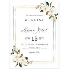 Magnolia Florals Wedding Invitation | Forever Your Prints