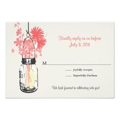 Mason Jar Wedding Rehearsal RSVP Mason Jar & Wildflowers Wedding Card