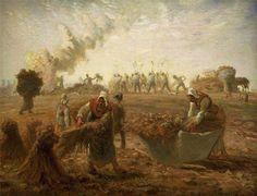 (France) Buckwheat harvest, summer by Jean Francois Millet Oil on canvas. Millet, Millet Paintings, Painter, Museum Of Fine Arts, Van Gogh Self Portrait, Jean Francois Millet, Painting, Farmer Painting, Manet