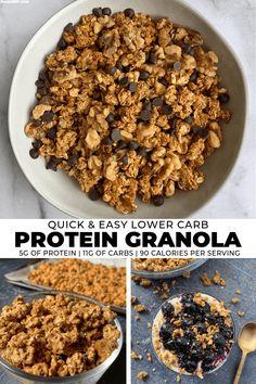 Lower Carb Cinnamon Vanilla Protein Granola Recipe High Protein Granola Recipe, Low Calorie Granola, Low Sugar Granola, Keto Granola, Protein Snacks, Diabetic Granola Recipe, Protein Oatmeal, Breakfast, Dressings
