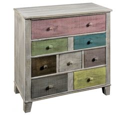 8 Multicoloured Drawer Timber Chest