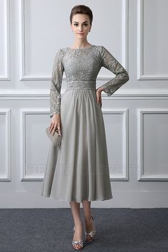 A-Line/Princess Jewel Neck Tea-length Mother of the Bride Dress With Ruching Lace