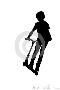 Silhouette of a boy with his scooter