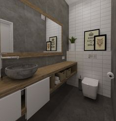 Zamiast płytek ceramicznych, czyli łazienka w betonie Toilette Design, Restroom Design, Double Vanity, Interior Design, Bathroom, Resin, Walls, Home Decor, Projects