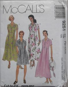 McCalls 9251 Notched Collar Dress   Misses Size by omasbricabrac, $6.95