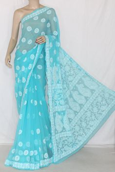 Pherozi Embroidered Lucknowi Chikankari Saree (With Blouse - Georgette) 12706