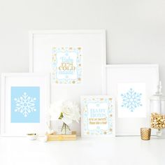 Printable Winter Onederland Birthday Decorations - Snowflake Signs 8x10 Art Prints - Baby Blue Boy Girl Nursery Wall Art - Christmas Decor - SprinkledDesigns.com