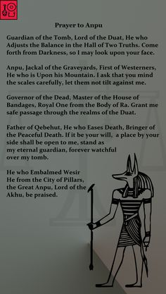 Prayer to Anpu  Check out my Facebook Page for more Prayer Art and access to my Videos on Ancient Egyptian history and religion.
