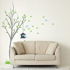 Tree With Bird House And Birds Wall Decal For Living Room Nature Wall Sticker Vinyl Removable Tree