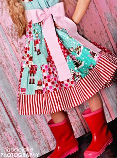 Candy Christmas Patchwork Twirly Dress  Boutique by LittleWellies, $58.00