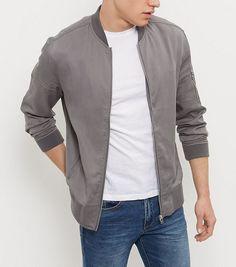 Grey Zip Sleeve Bomber Jacket | New Look