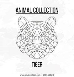 Geometric vector animal tiger head background