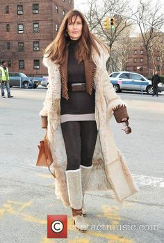 carol alt mercedes benz fashion week fall 3721610 Carol Alt, Sheepskin Coat, Celebs, Celebrities, Supermodels, Collars, That Look, Duster Coat, Kimono Top