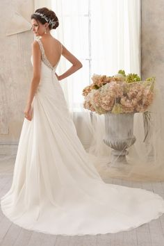 A-line Straps Beading Pleats Chapel Train Sleeveless Chiffon Wedding Dress - Shedressing.com