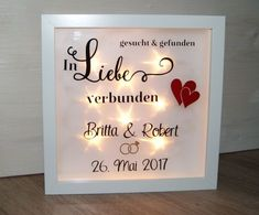Ein wunderschönes Geschenk zur Hochzeit ♥ Ein toller beleuchteter Bilderrahme… A beautiful gift for the wedding ♥ A great illuminated picture frame (inside is illuminated by a LED string lights, batteries are not included), the dimensions are … 25th Anniversary Gifts, Picture Frames, Wedding Gifts, Marriage, Pictures, Diy Design, Creative Ideas, Stencil, Magic