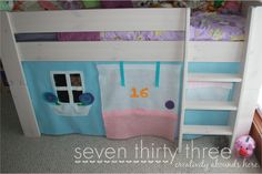 """This is Iris's BIG birthday surprise- adding a playhouse below her """"tower"""" bed. It will have a mailbox, a flower bed, and door and a window (either the door or window will """"close"""" with a sheet to double as a shadow puppet theater)."""