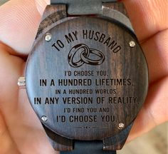 To My Husband - I'd Choose You in 100 Lifetimes Love You Engraved Wooden Watch, Wood Gifts for Man, Anniversary, Wedding gift, Birthday Diy Gifts For Dad, Gifts For Husband, To My Future Husband, Gifts For Him, Wooden Watches For Men, Luxury Watches For Men, Id Choose You, Watch Engraving, Cool Watches