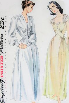 1940s Gorgeous Negligee and Nightgown Pattern Stunning Design Details Wedding Trousseau Pin Up Style Simplicity 2235 Vintage Sewing Pattern Bust 30 FACTORY FOLDED
