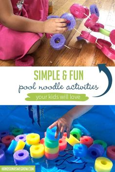 Toddler and preschooler activities with pool noodles! Super easy ways to work on teaching letters, fine motor skills, gross motor skills and sensory activites! Outdoor Activities For Kids, Sensory Activities, Hands On Activities, Preschool Activities, Outdoor Games, Family Activities, Summer Crafts For Kids, Kid Crafts, Summer Fun