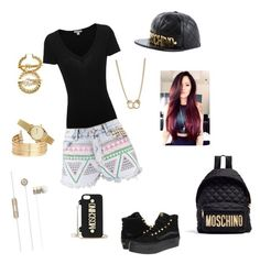 Black&Gold Vibes by gracie-sophia on Polyvore featuring polyvore, fashion, style, James Perse, Boohoo, Vans, Moschino, Sugar NY, H&M and clothing