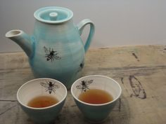 One Porcelain Blue Bee Tea Cup by FaithAdamsCeramics on Etsy, $14.00