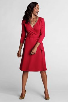 Women's 3/4-sleeve Knit Faux Wrap Drapey Ponté Dress from Lands' End