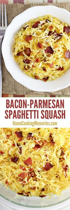 One of the best easy side dishes: Bacon-Parmesan Spaghetti Squash recipe! Only 4 ingredients! A must-make fall recipe when spaghetti squash is in season. (Squash Recipes Side Dishes)