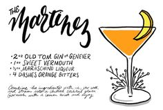 The Martinez #cocktail #recipe: http://ohsobeautifulpaper.com/2014/12/monday-happy-hour-the-martinez-cocktail/ | Illustration: Shauna Lynn for Oh So Beautiful Paper #OSBPhappyhour