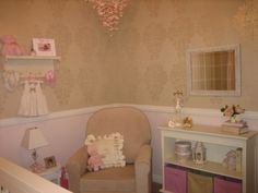 Part of my inspiration for the nursery... Chair rail with damask stencil