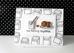 Card. Cardmaking. Tarjeta. Tarjeteria. Lawn Fawn. Milk and cookies. Stamps. Dies. Enamels Lora Bailora. Lawnscaping challenge.