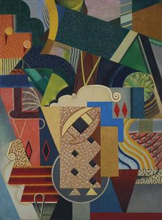 Auguste Herbin (French, 1882-1960), Nature morte aux biscuits [Still life with biscuits], 1917. Oil on canvas, 99.9 x 73 cm.